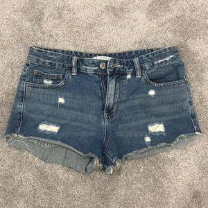 Free People ripped jean shorts size 27